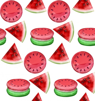Akwarela arbuz wzór macaroons