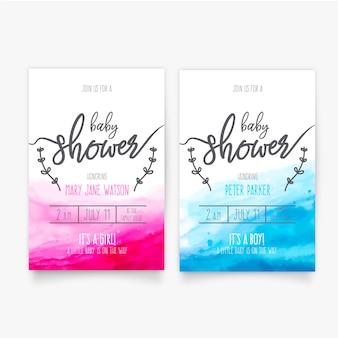 Akwarela baby shower szablon