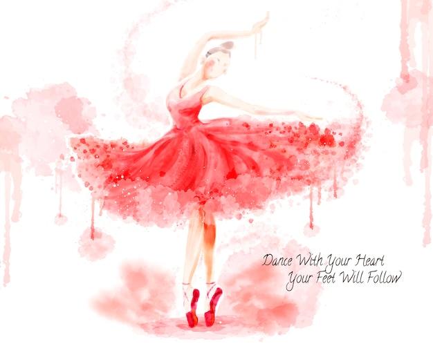 Akwarela baletnica, atrakcyjna tancerka w skoku farby akwarelowej na białym tle