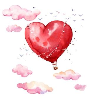 Akwarela balon na gorące powietrze w kształcie serca szybujący w powietrzu wśród chmur romantyczna atmosfera