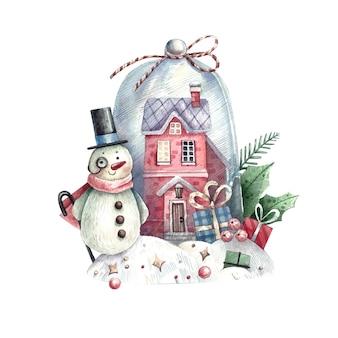 Akwarela bałwana i dom wewnątrz śnieżki