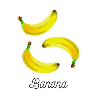 Akwarela banan owoce wegetariańskie jedzenie świeże