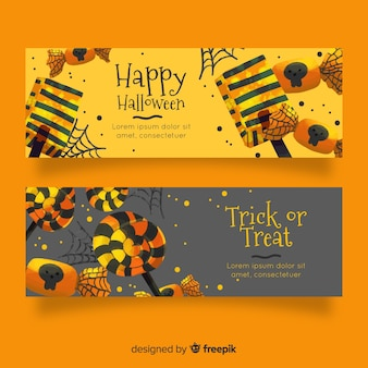 Akwarela banery halloween w złotych odcieniach