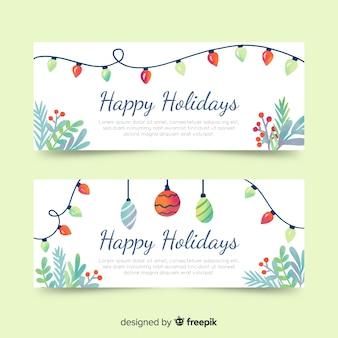 Akwarela banery świąteczne