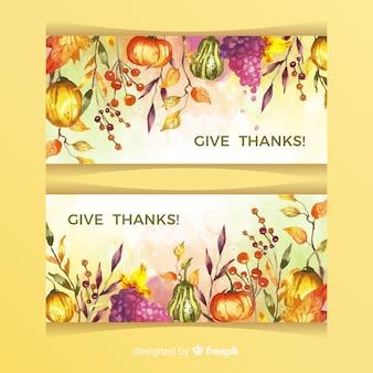 Akwarela banery święto dziękczynienia