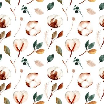 Akwarela bawełniane kwiaty wzór