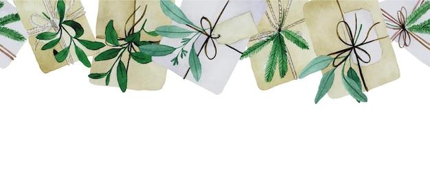 Akwarela bezszwowa granica z prezentami świątecznymi w stylu boho