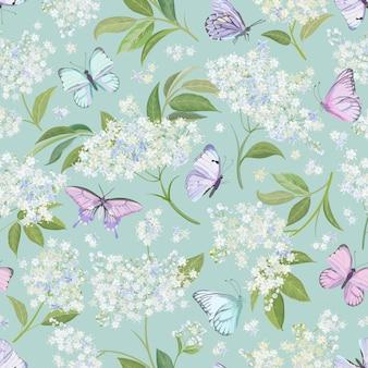 Akwarela bezszwowe białe tło kwiatowy czarnego bzu. wiosenny elderflower i motyle wzór wektor szablon. letnie kwiaty ślubne ilustracja projektu
