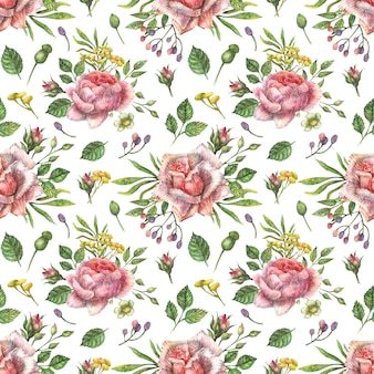 Akwarela bezszwowe botaniczny wzór jasne różowe kwiaty piwonii, róż i innych roślin i liści.