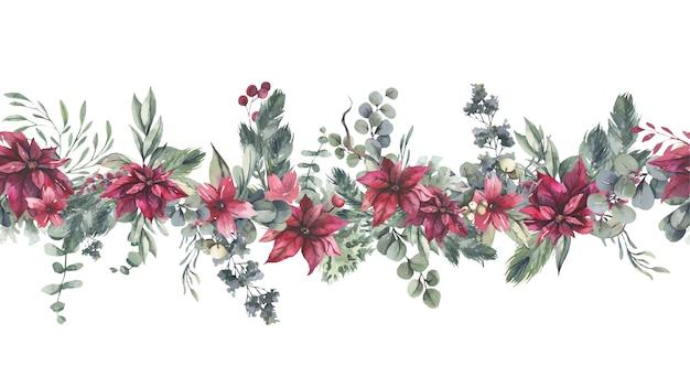 Akwarela bezszwowe granica z czerwonymi kwiatami i zielonymi liśćmi.