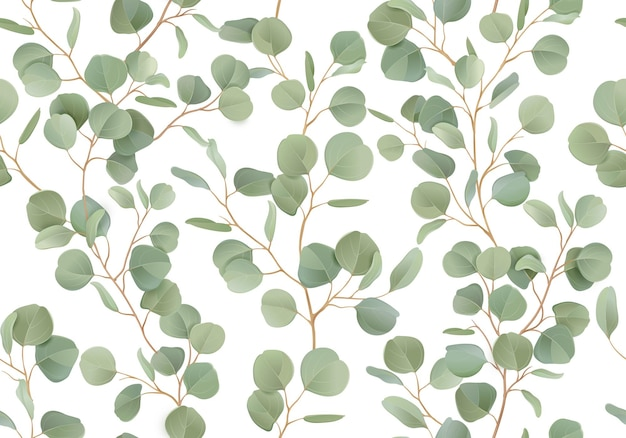 Akwarela bezszwowe kwiatowy wzór eukaliptusa. wektor ilustracja tropikalna zieleń oddziałów tła. letni rustykalny design do tekstyliów, dekoracji ślubnych, romantycznej okładki, tła, nadruku na papierze