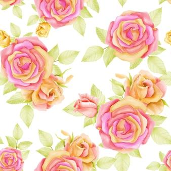 Akwarela bezszwowe kwiaty wzór ilustracja