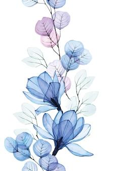 Akwarela bezszwowe obramowanie z przezroczystymi niebieskimi kwiatami magnolii i liśćmi eukaliptusa