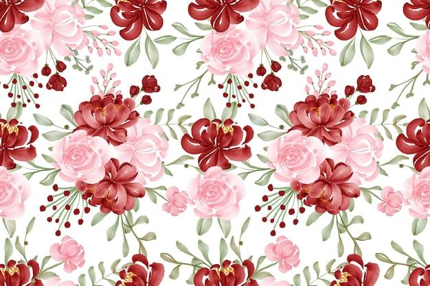 Akwarela bezszwowe tło wzór kwiat czerwony i różowy