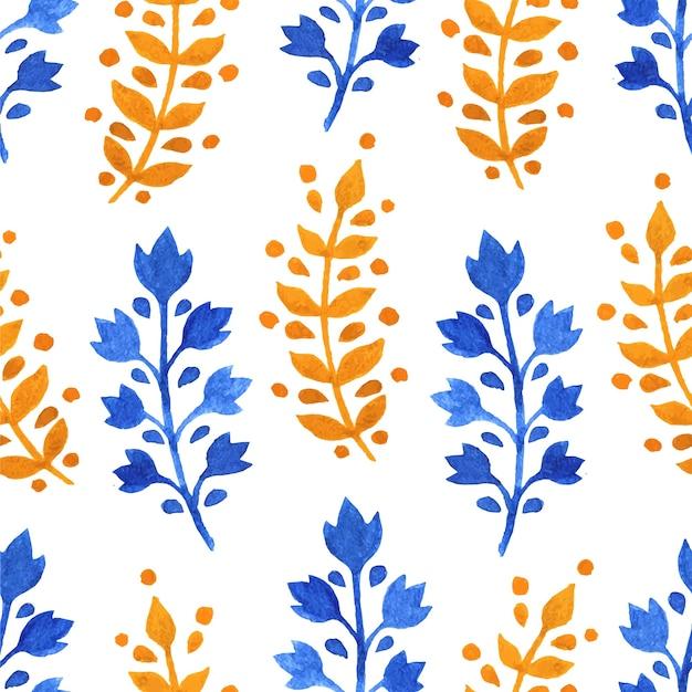 Akwarela bezszwowe tło z gałązek żółty i niebieski