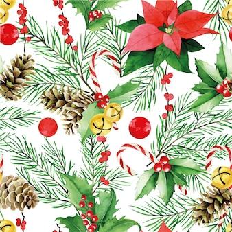 Akwarela bezszwowe wzór boże narodzenie nowy rok vintage wydruku z gałęzi jodły stożek poinzeta