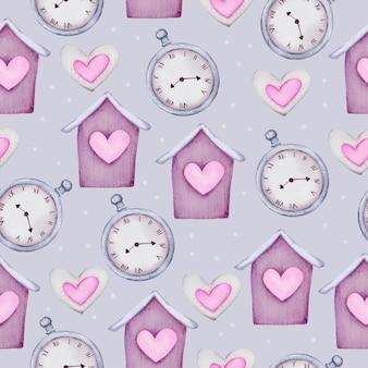 Akwarela bezszwowe wzór koncepcji miłości, na białym tle element koncepcji akwarela valentine piękne romantyczne czerwono-różowe serca do dekoracji, ilustracji.