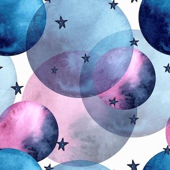 Akwarela bezszwowe wzór magicznych planet z gwiazdami
