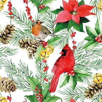 Akwarela bezszwowe wzór na boże narodzenie nowy rok tradycyjny nadruk z zimowymi ptakami czerwonymi jagodami
