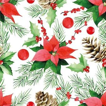 Akwarela bezszwowe wzór na temat bożego narodzenia nowego roku rocznika wydruku z gałęzi jodłowych