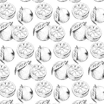 Akwarela bezszwowe wzór owoców pomarańczy z listkami. ilustracja pomarańczowych owoców cytrusowych. ilustracja żywności ekologicznej letni slogan