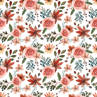 Akwarela bezszwowe wzór z ciepły jesienny kwiat i liść
