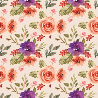 Akwarela bezszwowe wzór z fioletowymi piwoniami i pomarańczowymi kwiatami
