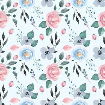 Akwarela bezszwowe wzór z pastelową różą