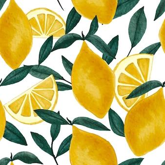 Akwarela bezszwowe wzór z pełnymi i pokrojonymi cytrynami i zielonymi liśćmi