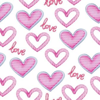 Akwarela bezszwowe wzór z różowymi sercami i listem miłosnym, element koncepcji walentynek piękne romantyczne czerwono-różowe serca do dekoracji, ilustracji.