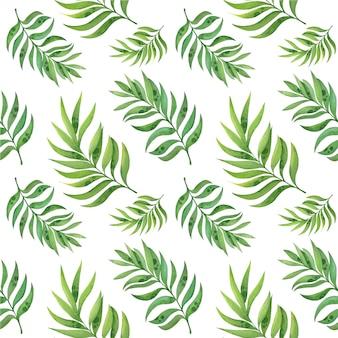 Akwarela bezszwowe wzór z tropikalnych liści na białym tle