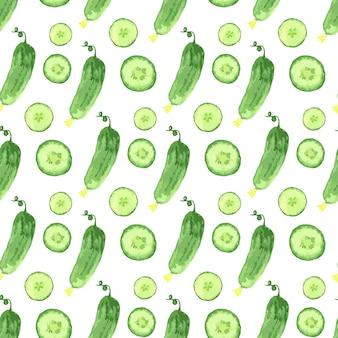 Akwarela bezszwowe wzór z zielone ogórki. wektorowa ręka rysująca zdrowa karmowa ilustracja.