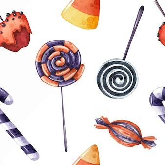 Akwarela bezszwowe wzór ze słodyczami i cukierkami na halloween
