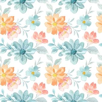 Akwarela bezszwowe wzór zielony kwiat brzoskwini