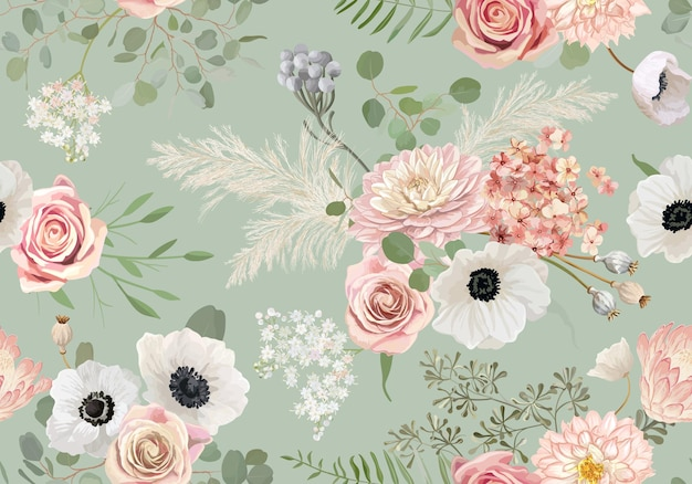 Akwarela bezszwowe zawilec, kwiat róży, liście eukaliptusa, tło wektor trawa pampasów. wiosną suszone kwiaty wzór. letni projekt boho na ślub, nadruk na tkaninie, teksturę tapety, tło