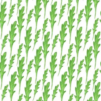 Akwarela bezszwowy wzór z zielonymi liśćmi arugula na białym tle. ilustracja wektorowa farby ręczne.