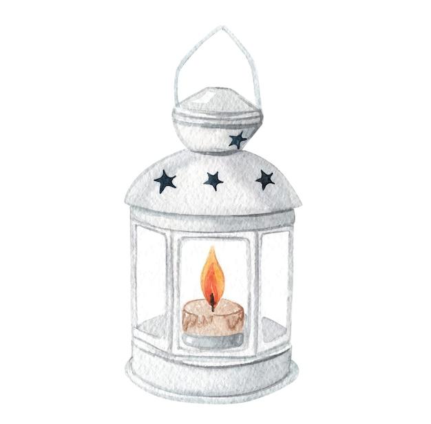 Akwarela biała latarnia z płonącą świecą na białym tle