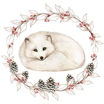 Akwarela białego lisa polarnego w zimowym śnieżnym wieńcu