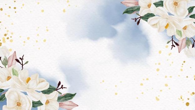 Akwarela biały bukiet kwiatów magnolii na tle powitalny