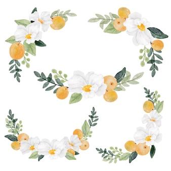 Akwarela biały kwiat i pomarańczowa kolekcja owoców na białym tle