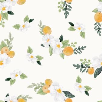 Akwarela biały kwiat i pomarańczowy owoc bez szwu wzór