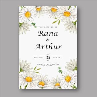 Akwarela biały kwiat na zaproszenie na ślub