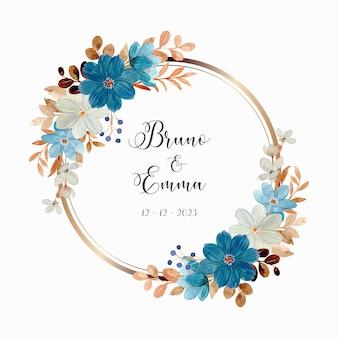 Akwarela biały niebieski kwiatowy wieniec ze złotym kółkiem