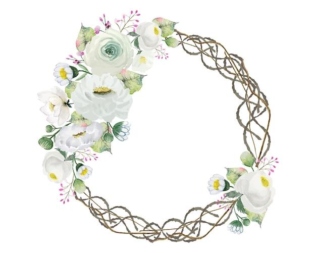 Akwarela biały wieniec kwiatów z ramą pierścieniową z gałęzi korzenia koła
