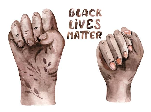 Akwarela black lives matter clipart ręka kobieta serca społeczność ludzka