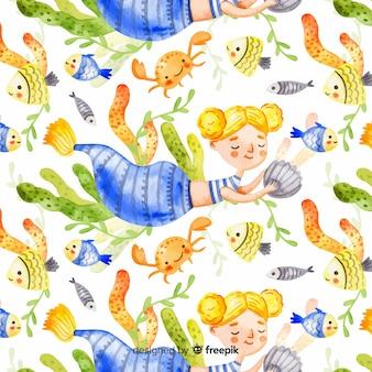 Akwarela blondynka uśmiechający się wzór syrenki