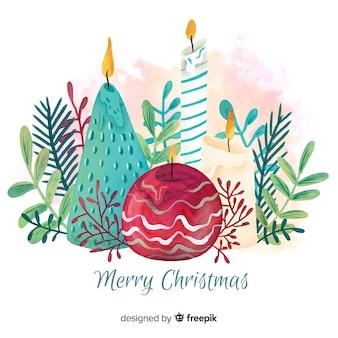 Akwarela Boże Narodzenie świece tło