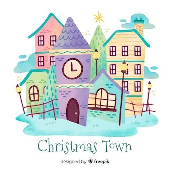 Akwarela Boże Narodzenie miasto tło