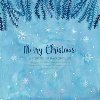 Akwarela Boże Narodzenie niebieskie tło
