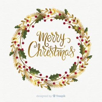 Akwarela Boże Narodzenie wieniec tło